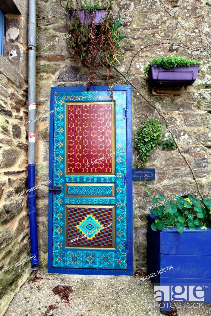 Stock Photo: Decorated door at Rue Herve Julien Street on the Sardine Route, Douarnenez, Bretagne, France.