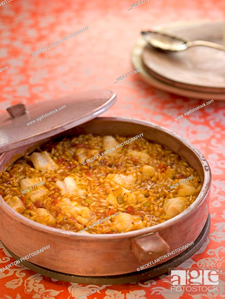 Stock Photo: rice with conger eel in casserole.