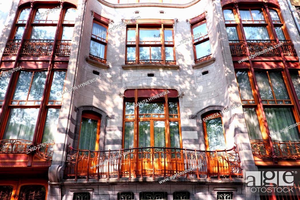 Stock Photo: part of front facadel - Art Nouveau Solvay Hotel by Victor Horta, together with three other town houses of Victor Horta, including Horta's own house and atelier.