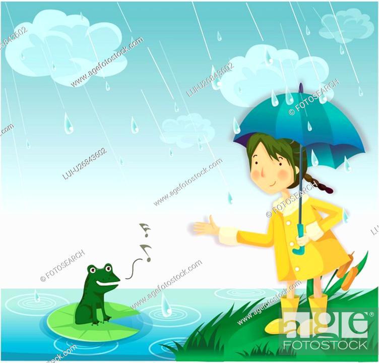Stock Photo: lake, umbrella, flog, raincoat, hill, grassfield.