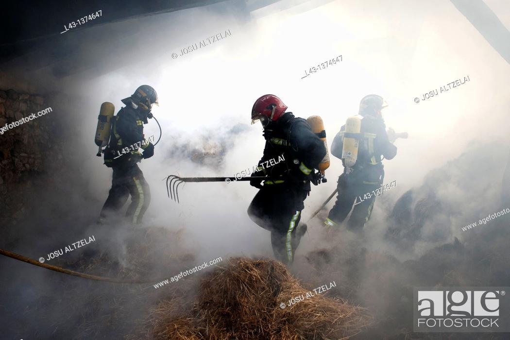 Stock Photo: Fire in a farmer house in Legazpi, guipuzcoa, basque country.