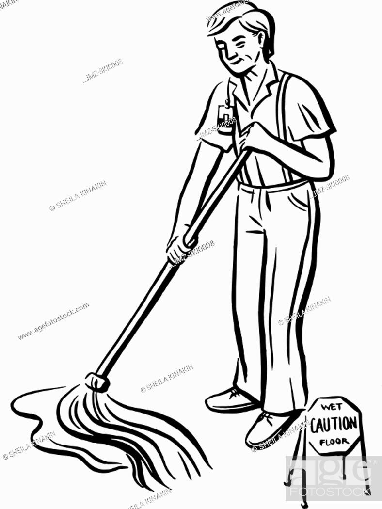 Stock Photo: A handyman cleaning up the floor.