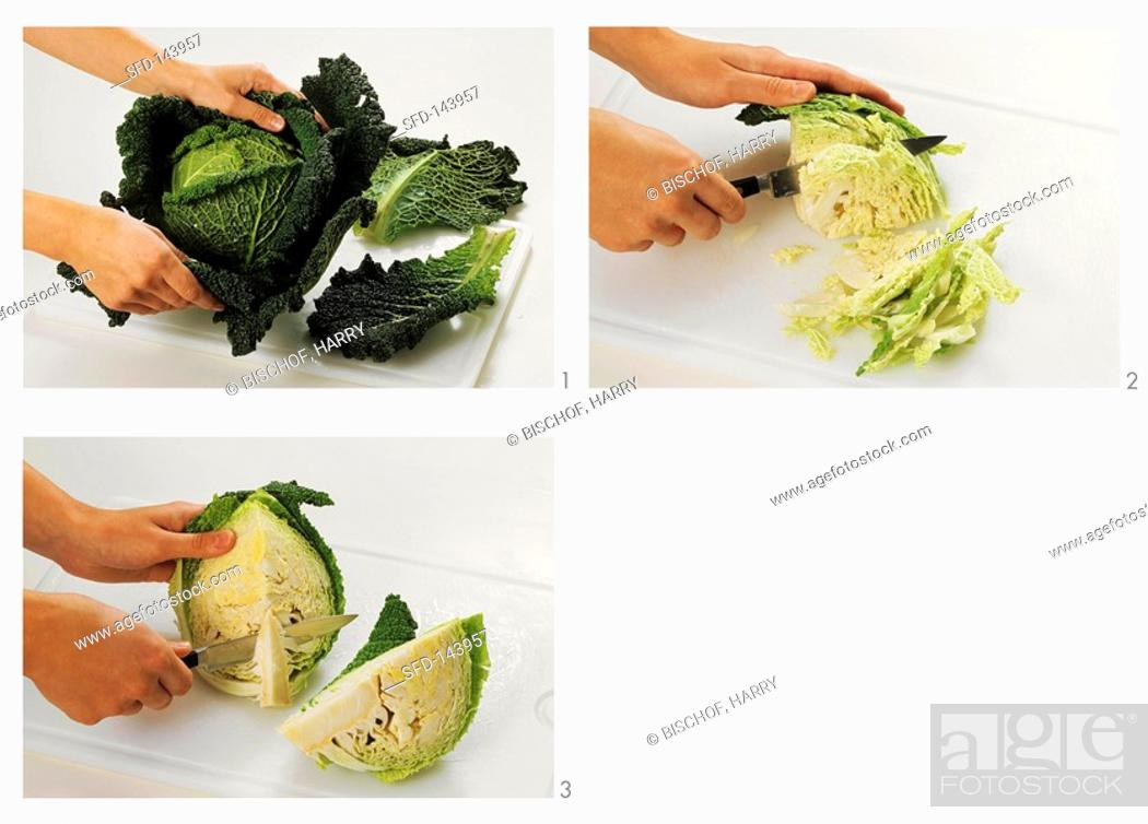 Stock Photo: Cleaning savoy, removing stalk and chopping.