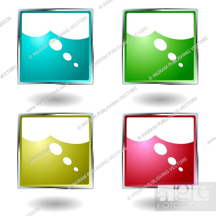 Stock Vector: Illustrated button colour set with a think icon.