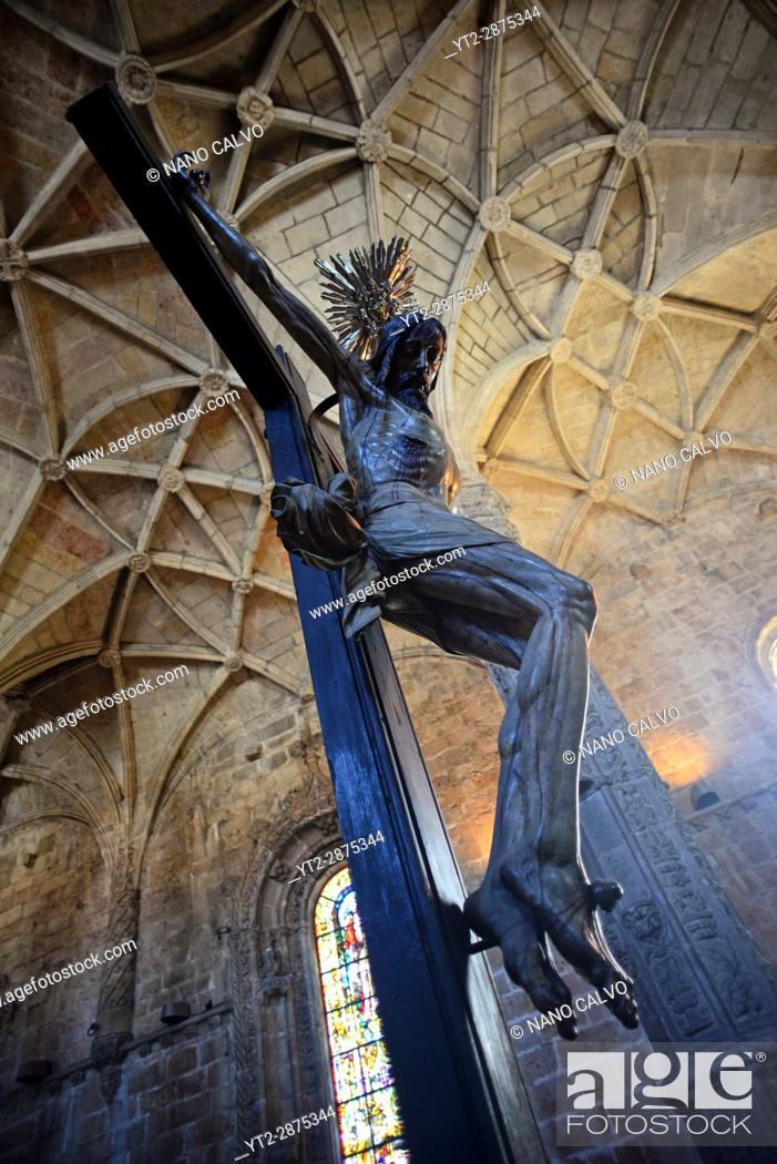 Stock Photo: Christ Crucified sculpture in Jeronimos Monastery or Hieronymites Monastery (The Mosteiro dos Jeronimos), a former monastery of the Order of Saint Jerome near.