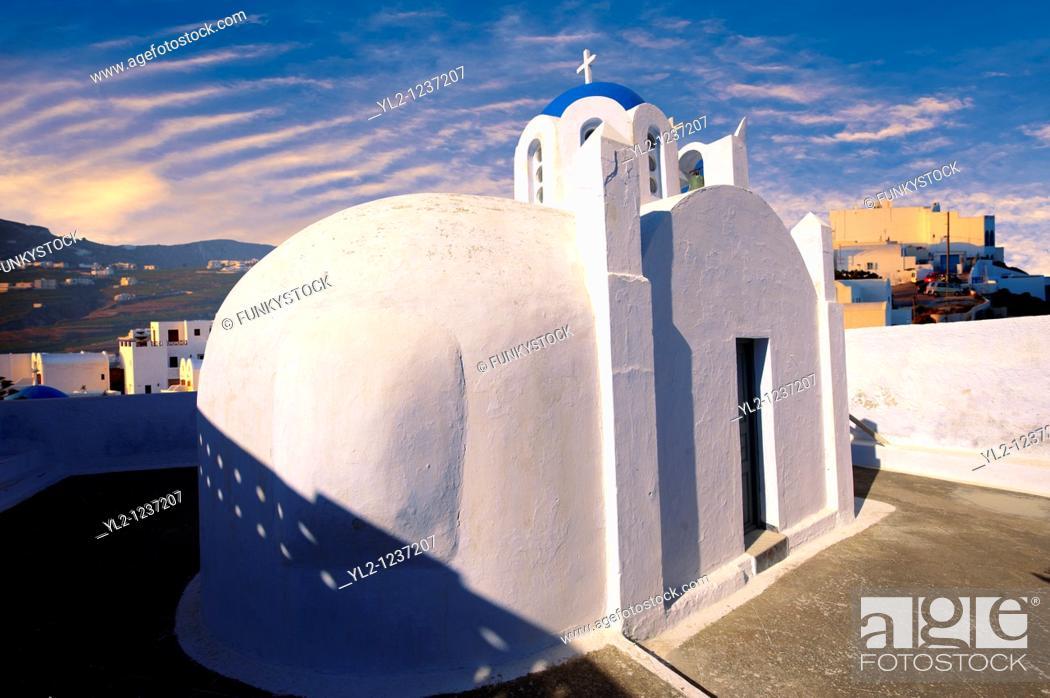 Stock Photo: Chapel and churches of Pyros, Santorini, Greece.