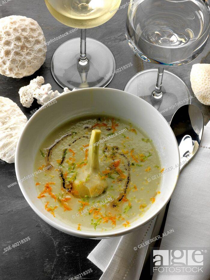 Stock Photo: Three vanilla cream of artichoke soup.
