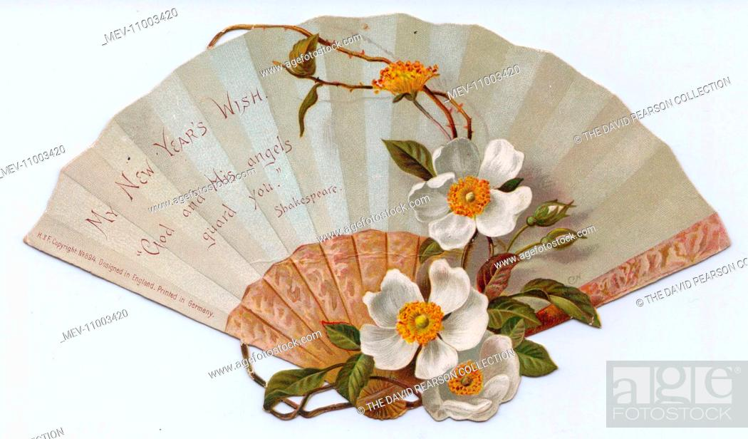 stock photo new year card in the form of a fan decorated with white christmas roses and a quotation from shakespeare henry v