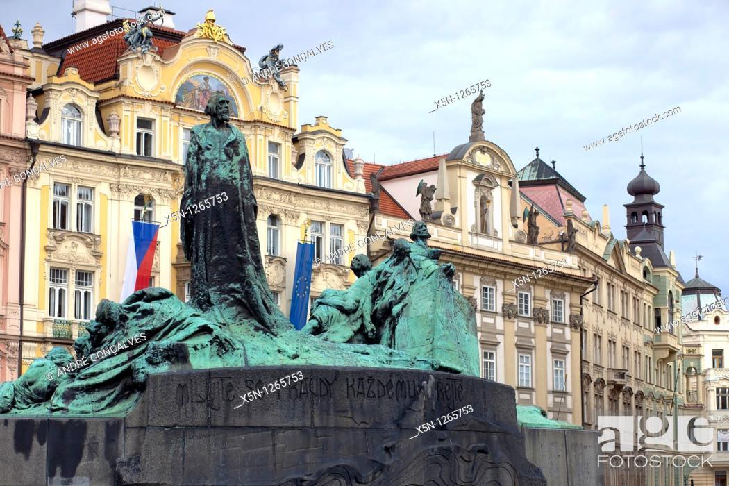 Stock Photo: Jan Hus statue, Prague, Czech Republic.