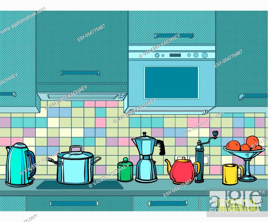 Stock Vector: home kitchen mockup background. Pop art retro vector illustration kitsch vintage 50s 60s style.