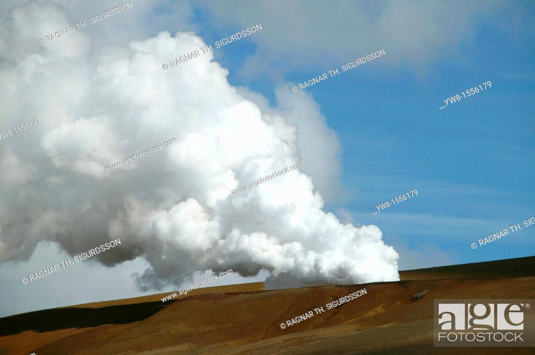 Stock Photo: Steam from borehole at Krafla Geothermal Power Station, Iceland.