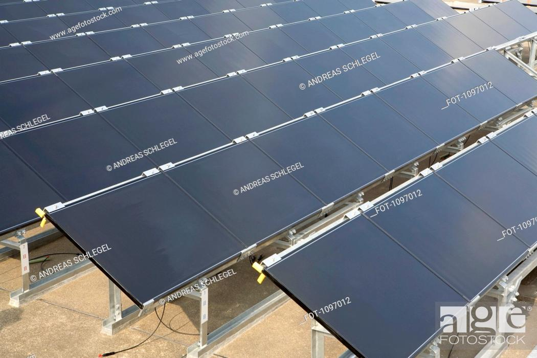 Stock Photo: Detail of solar panels in rows.