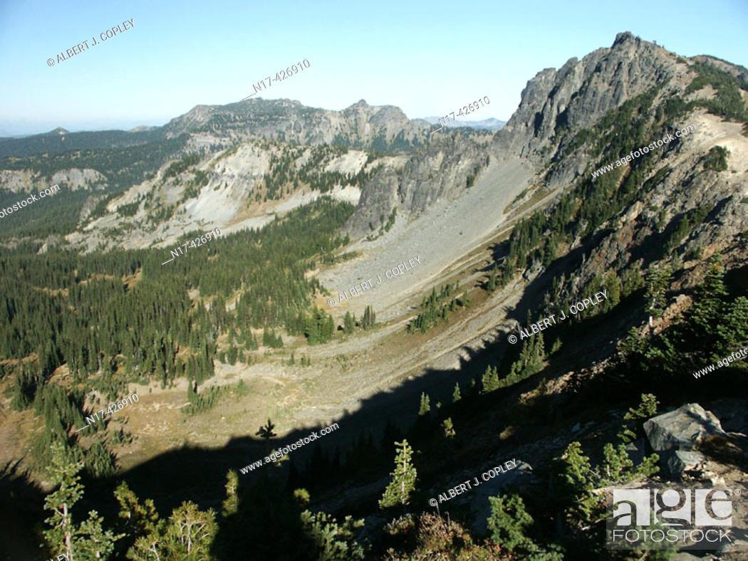 Stock Photo: Glacial valley, Mt. Rainier. Washington, USA.