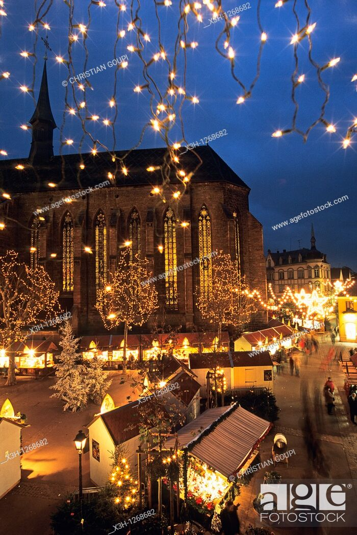 Stock Photo: Christmas market, Dominicans square, Colmar, Haut-Rhin department, Alsace region, north-eastern France, Europe.