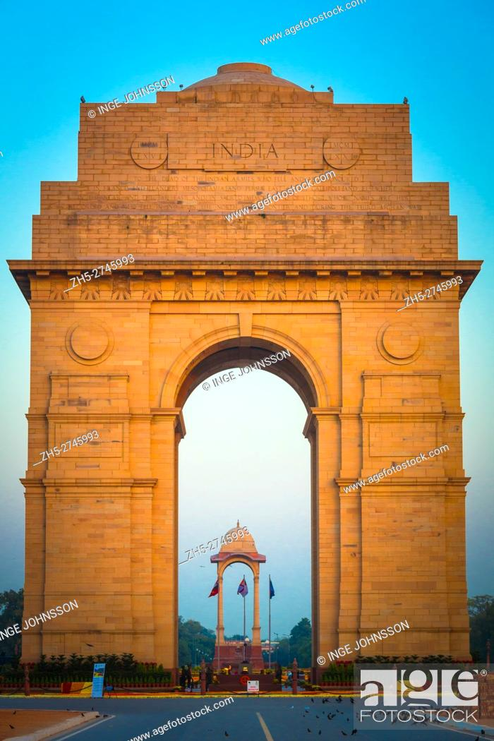 Stock Photo: The India Gate is the national monument of India. Situated in the heart of New Delhi, it was designed by Sir Edwin Lutyens.