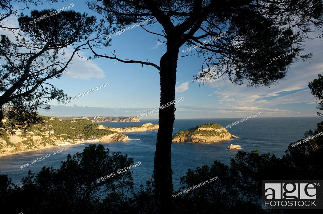 Stock Photo: Coastline of North Alicante, Portixol island and Nao cape, Jave, Alicante, Spain.