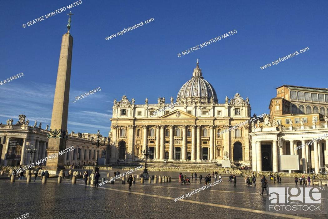 Stock Photo: St. Peter's Square in Vatican city in Rome (Italy).