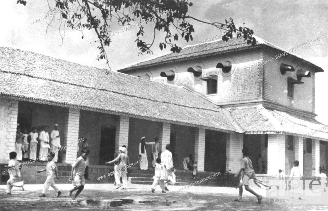 Stock Photo: Mahatma Gandhi's primary school at Rajkot, Gujarat, India.