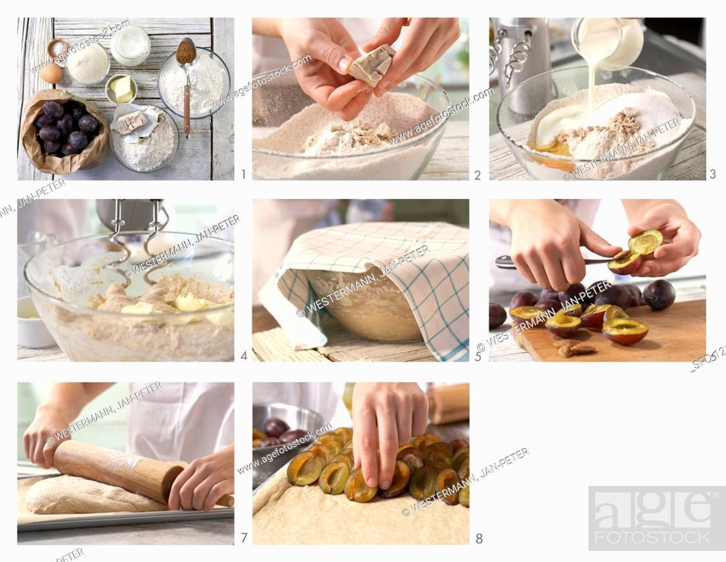 Stock Photo: How to prepare a plum cake made with unripe spelt flour.
