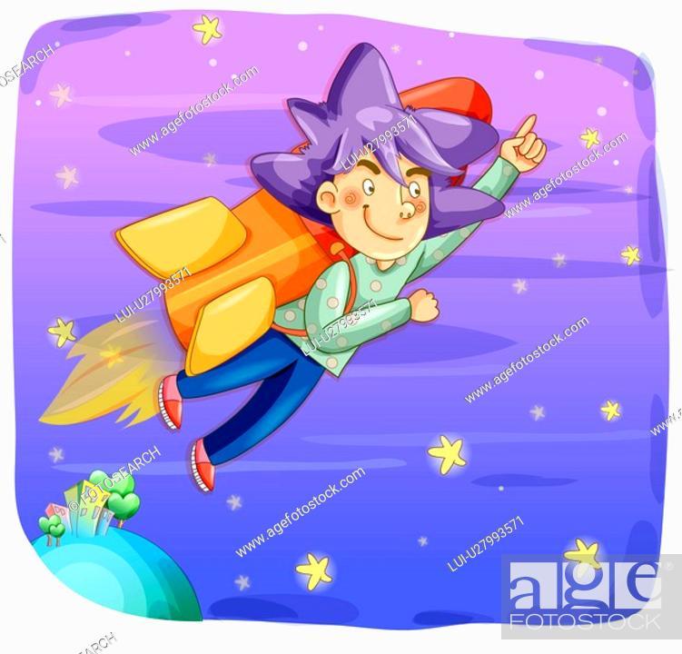 Stock Photo: flying, universe, conceptual, rocket ship, roket, trip.