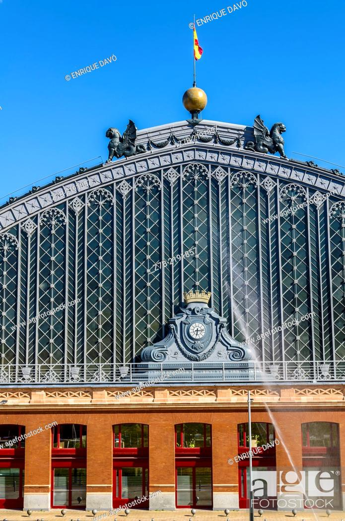 Stock Photo: View of the Atocha entry station in Madrid city, Spain.