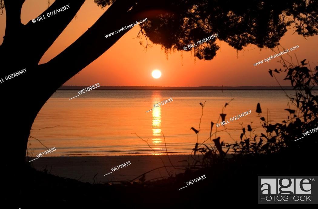 Stock Photo: Sunset - Jekyll Island, Georgia.