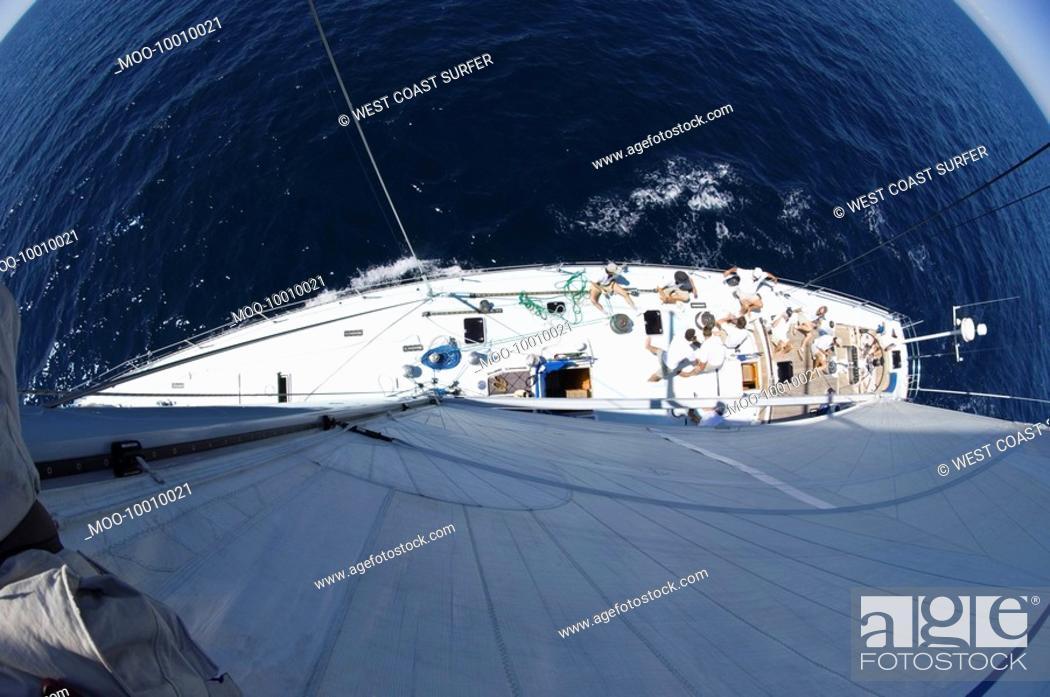 Stock Photo: Sailboat at sea fisheye lens view from above.