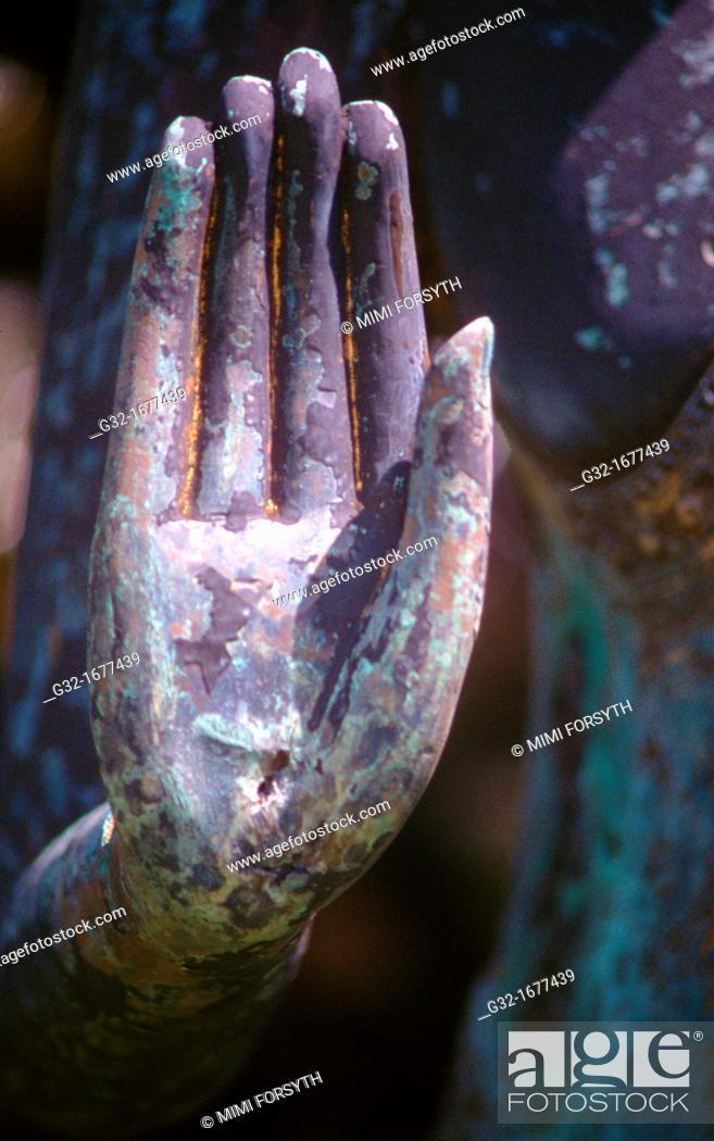 Stock Photo: Buddha hand in Abhaya 'Do Not fear' mudra/gesture.