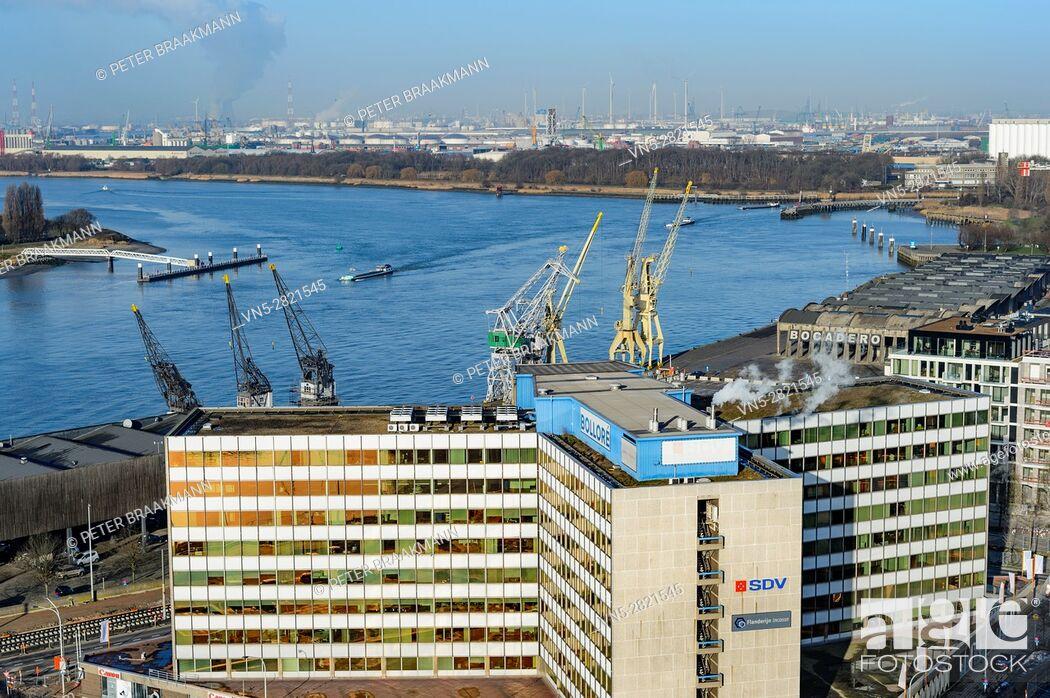 "Stock Photo: ANTWERP - BELGIUM â. "" DECEMBER 27: Aerial view of Antwerp port area with marina harbor form roof terrace museum MAS on December 27, 2016."