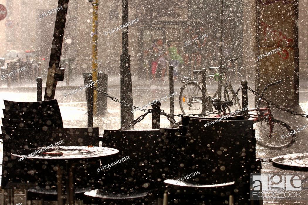Stock Photo: Rainy day in Milan - Italy.