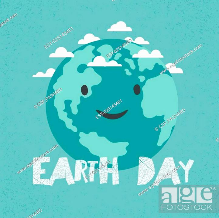 Stock Vector: Earth Day Poster. Earth Illustration. Celebration Card template.