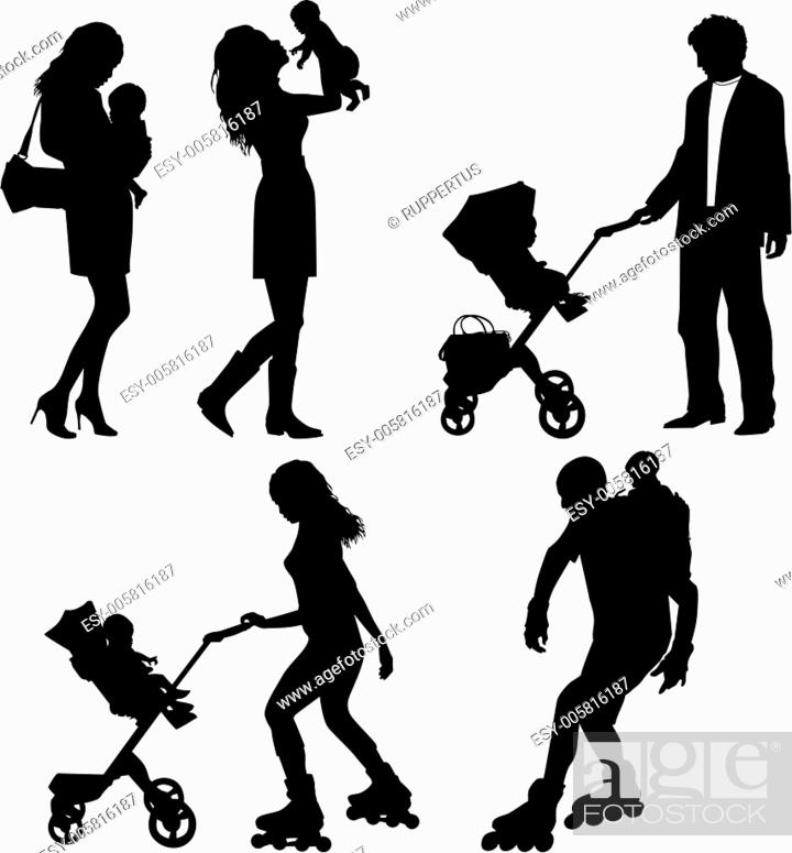 Stock Vector: several people with children - vector silhouettes.
