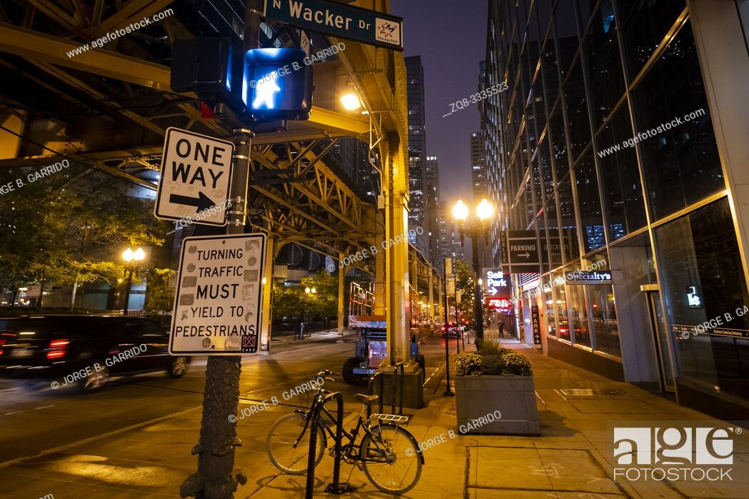 Stock Photo: Chicago street at night.