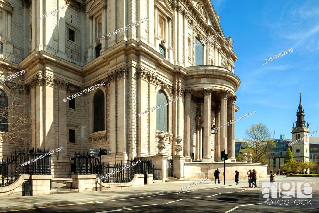 Stock Photo: The facade of St Paul's cathedral, City of London, England.