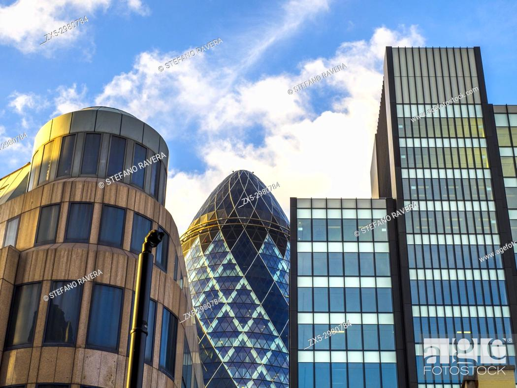 Stock Photo: The Gherkin building and the Towergate building (left) in the city of London - England.