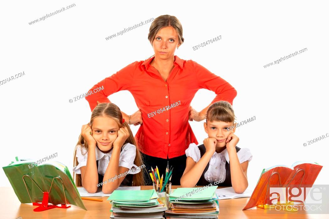 Stock Photo: Teacher tired of stupid children.
