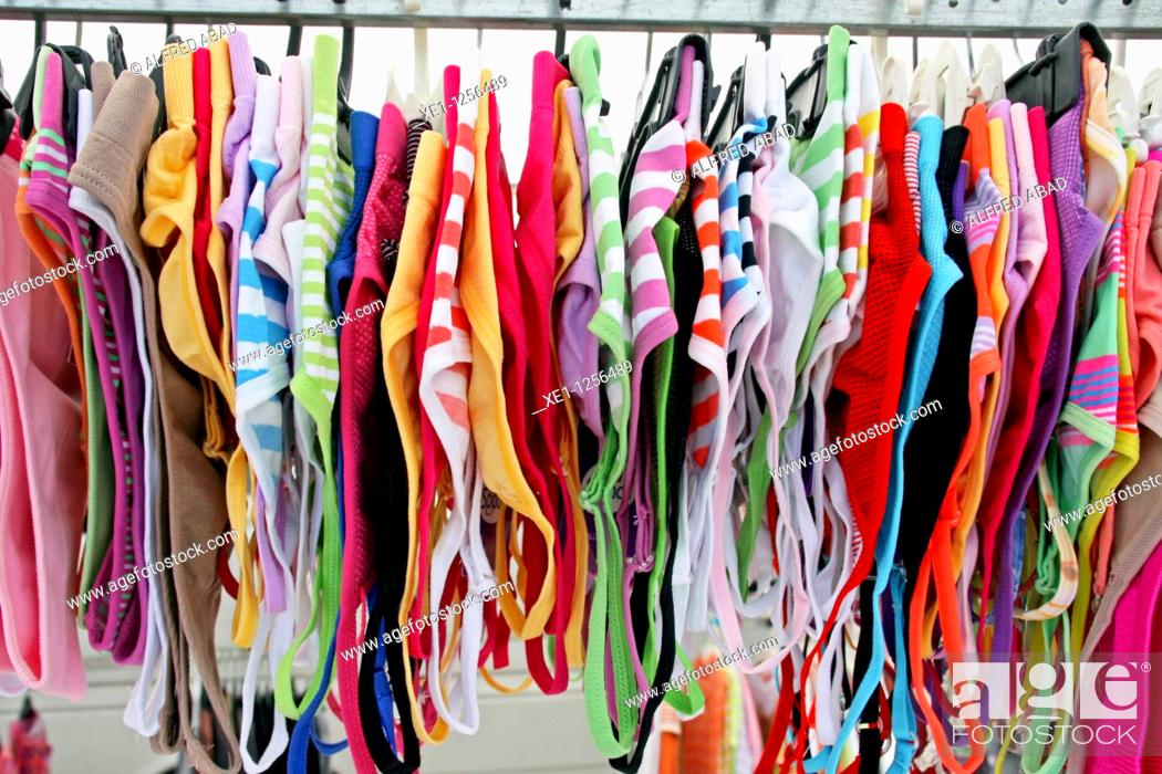 Stock Photo: colored lingerie, market.
