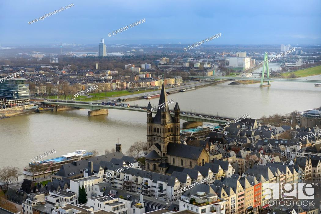 Stock Photo: Rhine River Panorama From Cologne Cathedral, Germany.