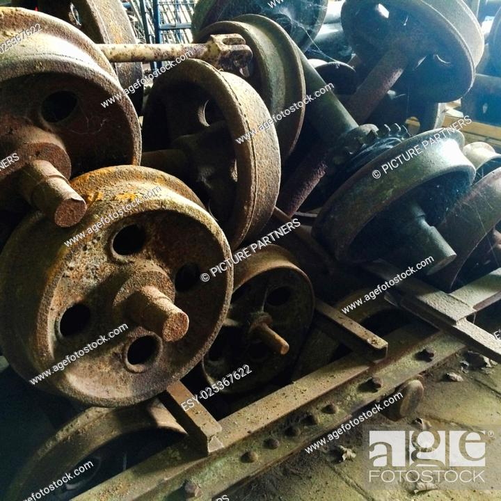 Photo de stock: Old rusty train wheels in decay.
