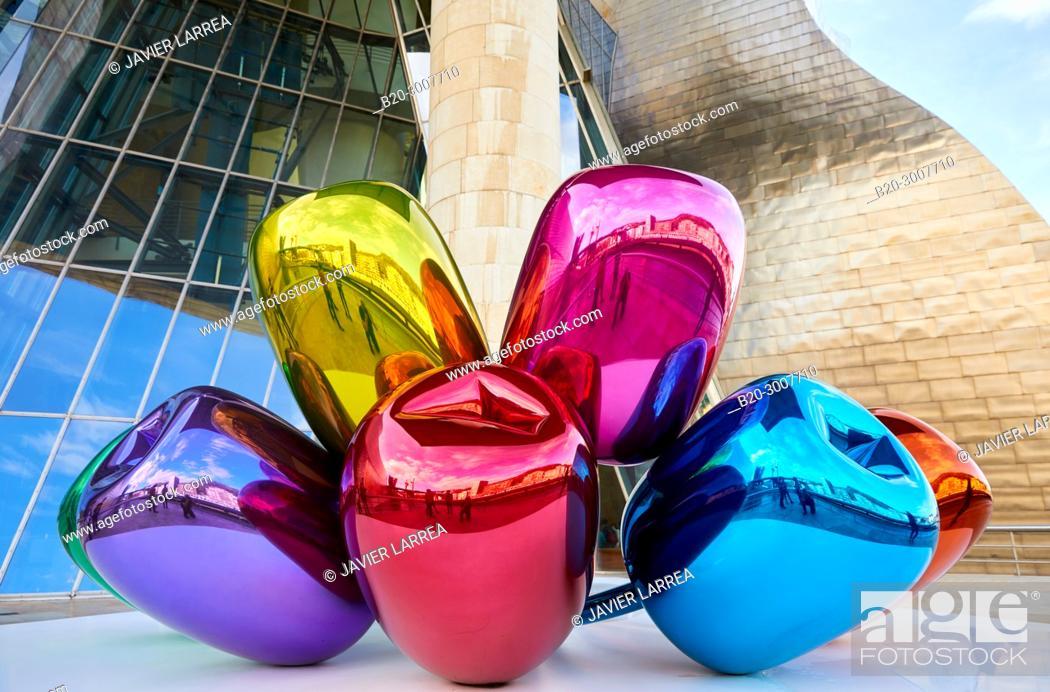 Stock Photo: 'Tulips' by Jeff Koons, Guggenheim Museum, Bilbao, Bizkaia, Basque Country, Spain, Europe.