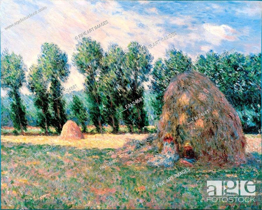 Stock Photo: Haystacks. Monet, Claude (1840-1926). Oil on canvas. Impressionism. 1885. France. Ohara Museum of Art, Kurashiki. 65,2x81,5. Landscape. Painting.