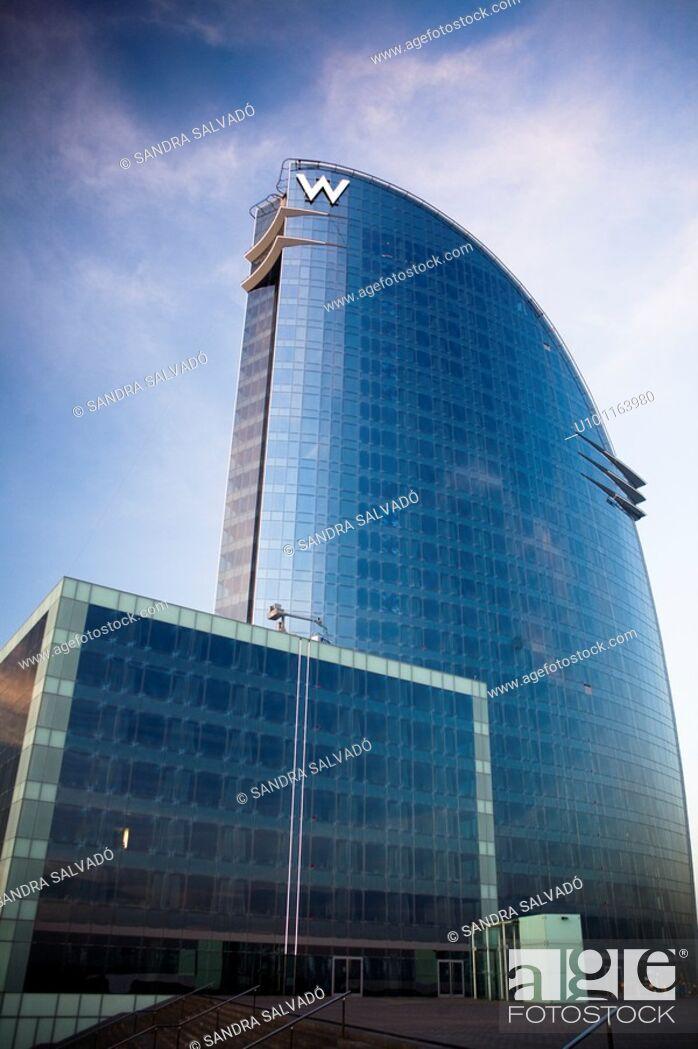 Stock Photo: Hotel W Barcelona Hotel Vela by Ricardo Bofill, Barcelona, Catalonia, Spain.