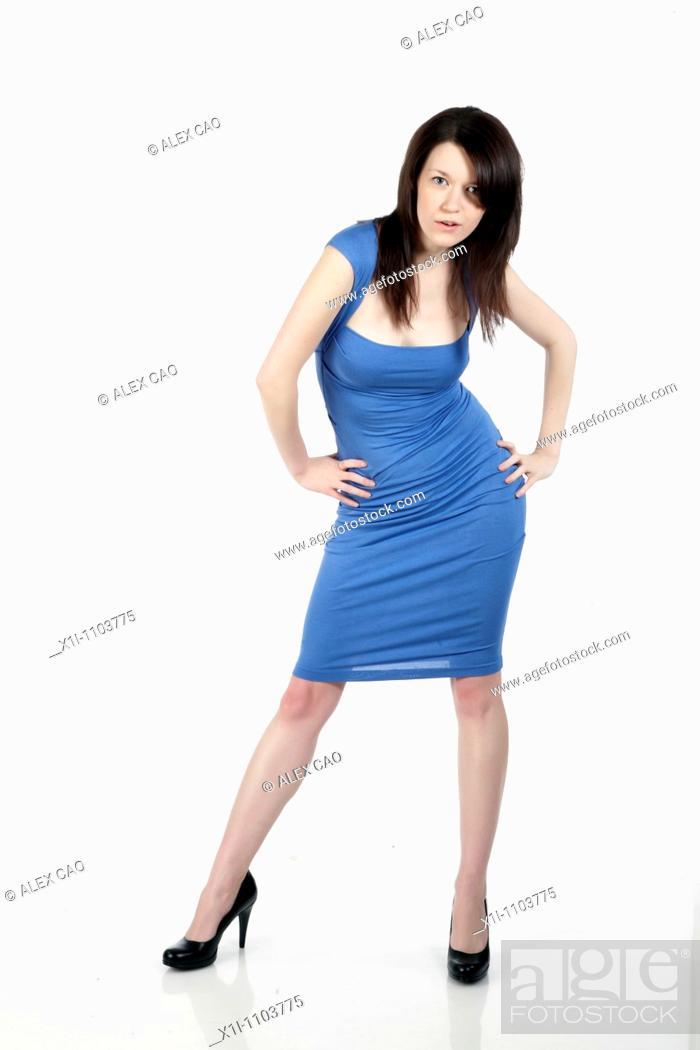 Stock Photo: Woman in blue dress.