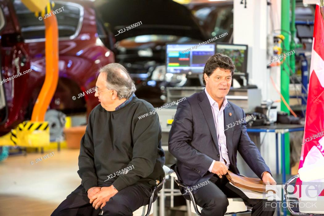 Stock Photo: Windsor, Ontario Canada - Fiat Chrysler Automobiles CEO Sergio Marchionne (left) and Unifor President Jerry Dias at FCA's Windsor Assembly Plant.