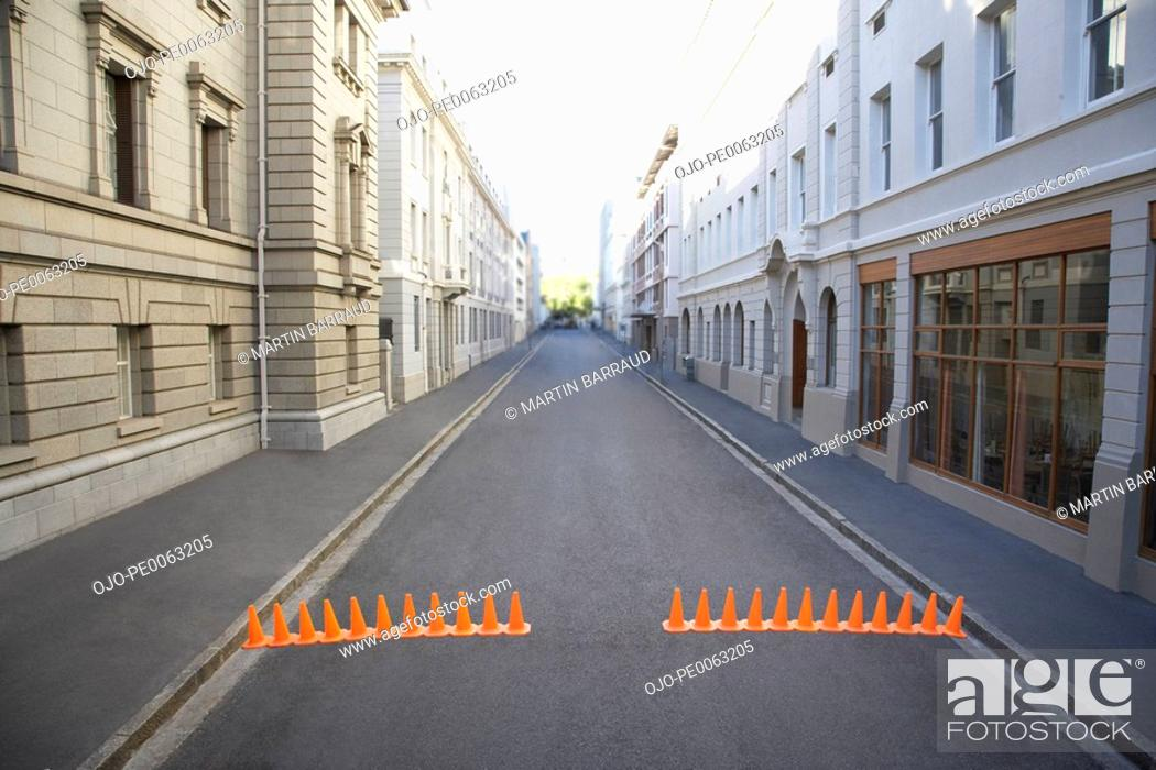 Stock Photo: Urban street with traffic cones.