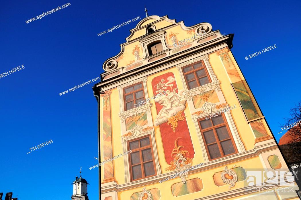 Stock Photo: The Baroque facade of the Steuerhaus (tax house) in Memmingen, Germany.