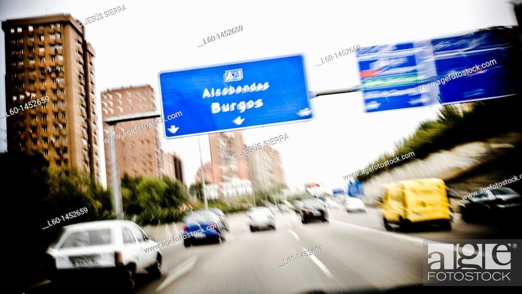 Stock Photo: M-30 motorway, Madrid, Spain.
