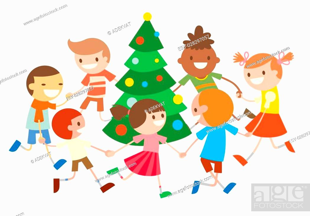Children Round Dancing Christmas Tree In Baby Club Illustration Stock Vector Vector And Low Budget Royalty Free Image Pic Esy 028297057 Agefotostock