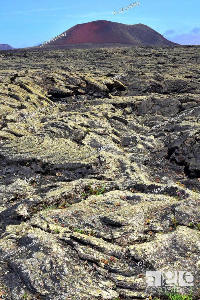 Stock Photo: Pahoehoe or lava flow in Lanzarote Island, Canary Islands, Spain. At the bottom Montaña Colorada volcano.