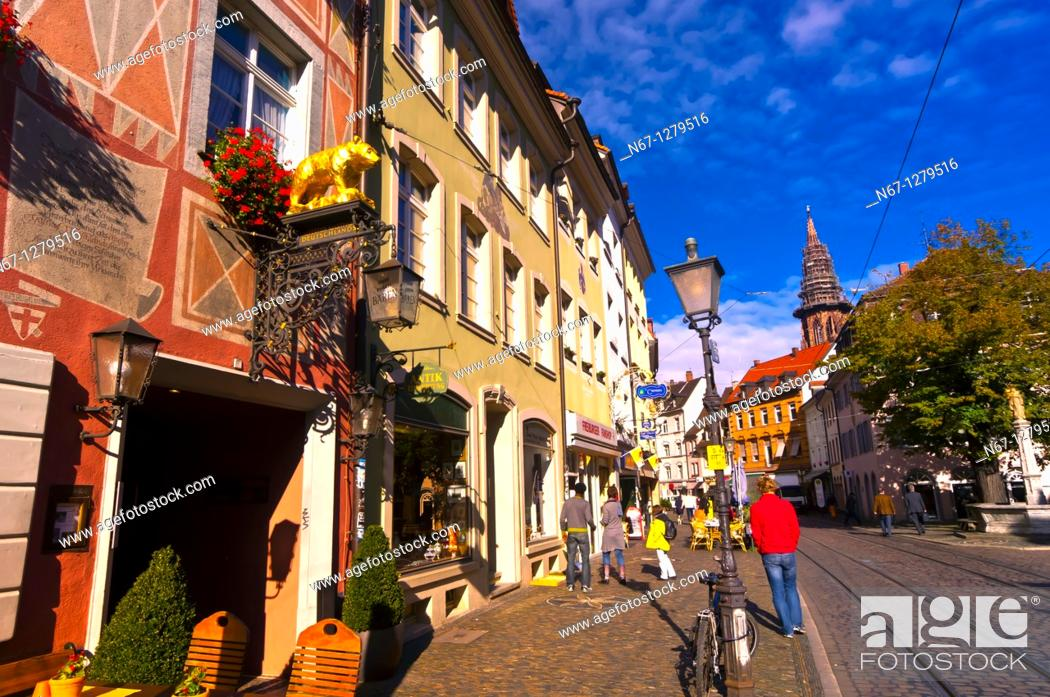 Stock Photo: Street scene, Freiburg, Baden-Württemberg, Germany.